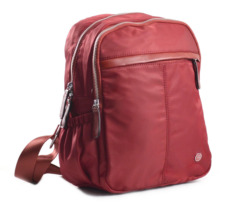 Bright Dámský batoh se 2 zipy a bočními kapsami větší A5 bordó