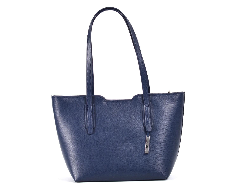 Bright Elegantní kabelka větší A5 kožená přes rameno modrá