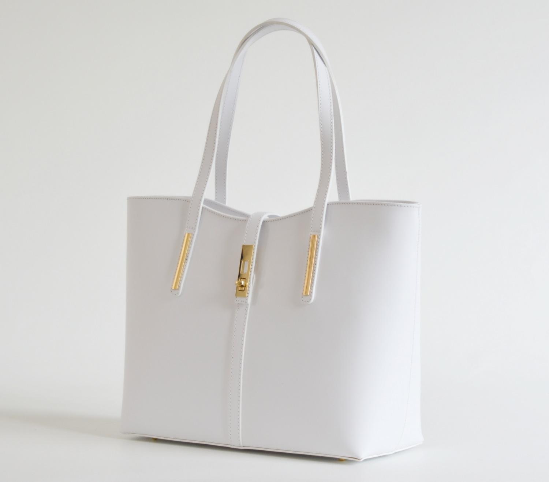 BRIGHT Klasická kabelka kožená přes rameno hladká A4 bílá