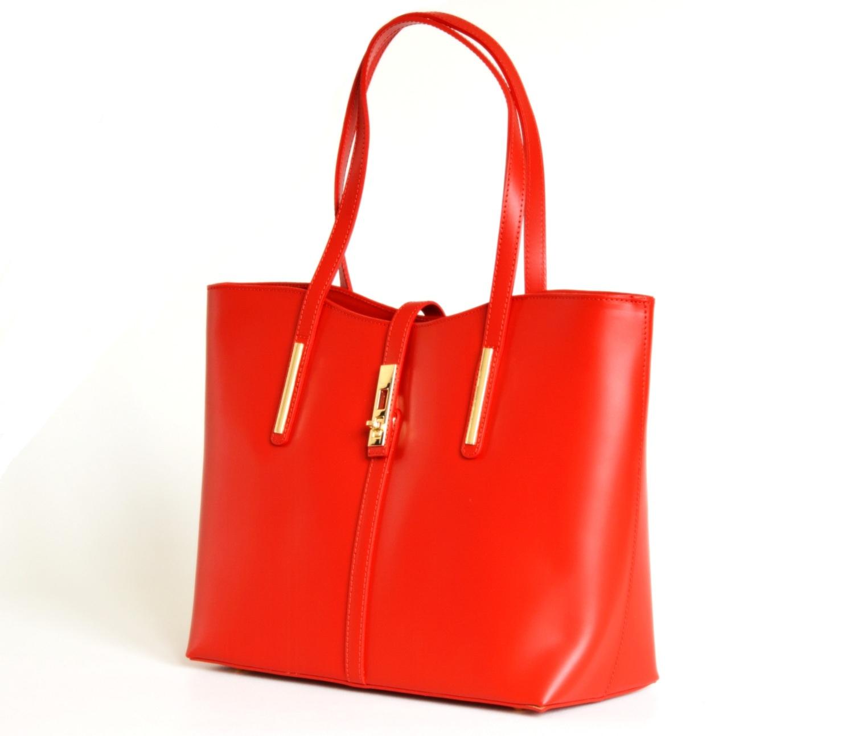 BRIGHT Klasická kabelka kožená přes rameno hladká A4 červená