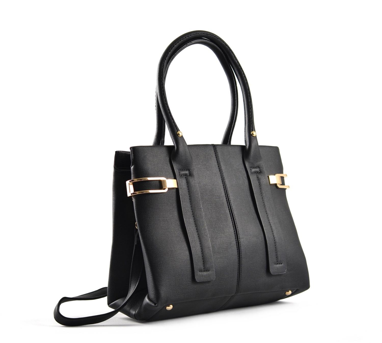 Bright Dámská kabelka do ruky A4 s bočními sponami černá
