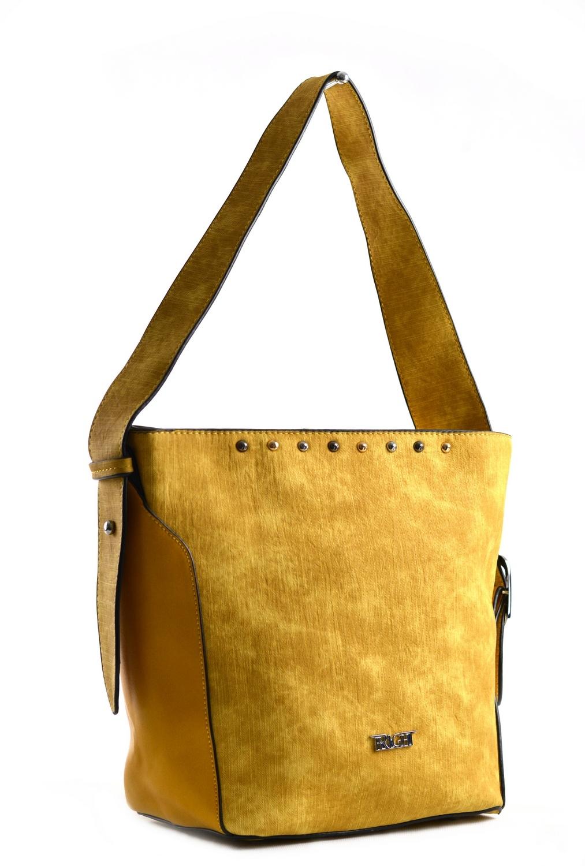 Bright Dámská kabelka větší A5 přes rameno mramorovaná žlutá