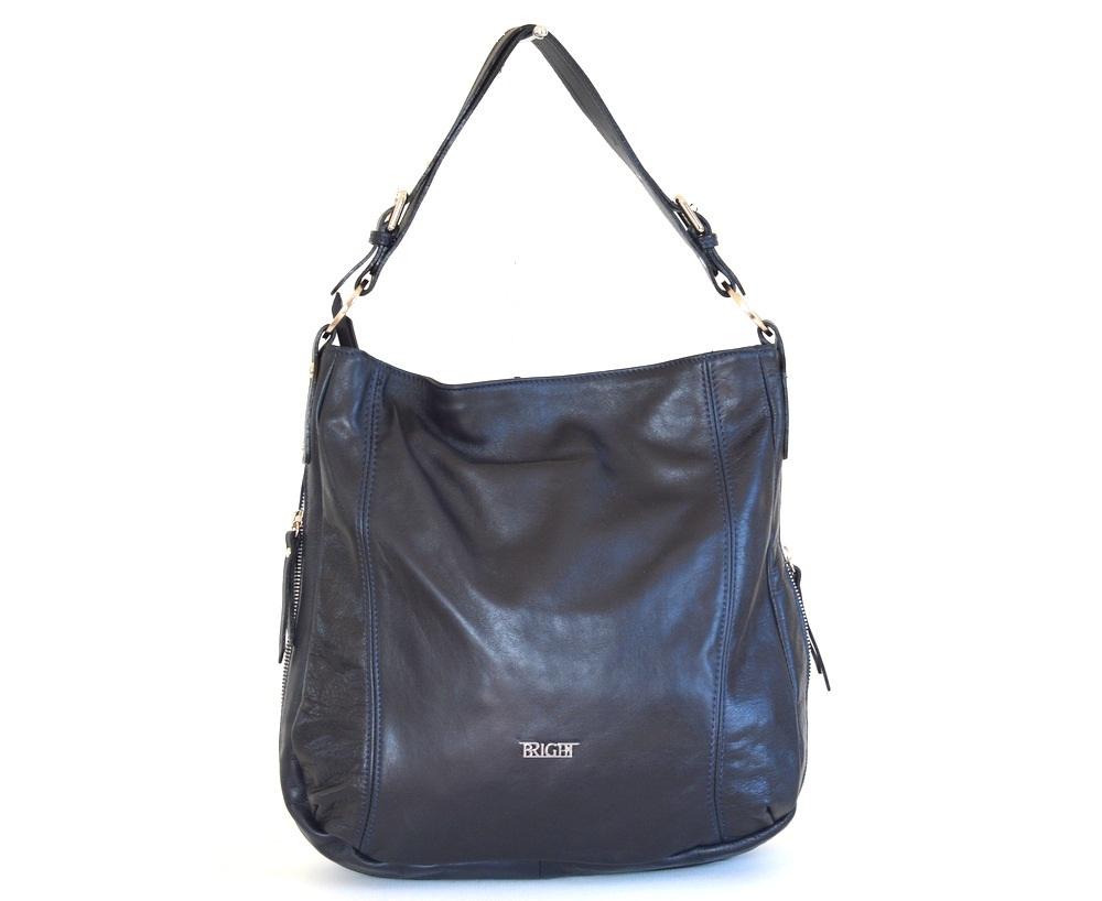 Kožená kabelka vak A4 rozšiřovatelná měkká modrá, 29 x 13 x 33 (BR16-LP9060-41SAV)