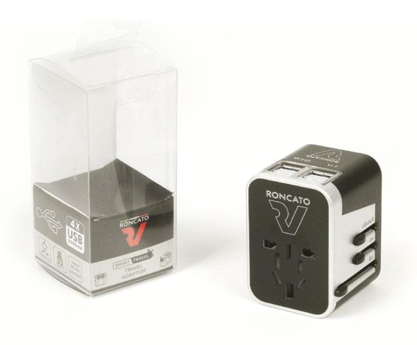 RONCATO Adaptér USA/EU/UK + USB Black, 5 x 5 x 7 (40916100)