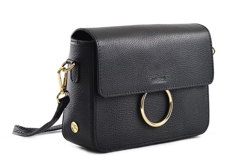 Bright Elegantní dámská kabelka menší kožená s kroužkem černá