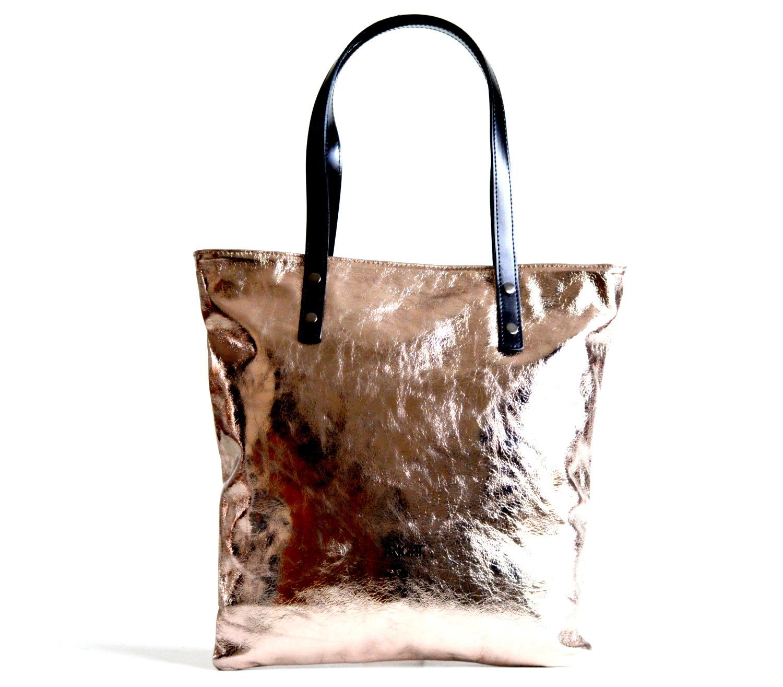 Bright Fashion kabelka kožená velká A4 lesklá L přes rameno bronzová ... eb0587dc4ed