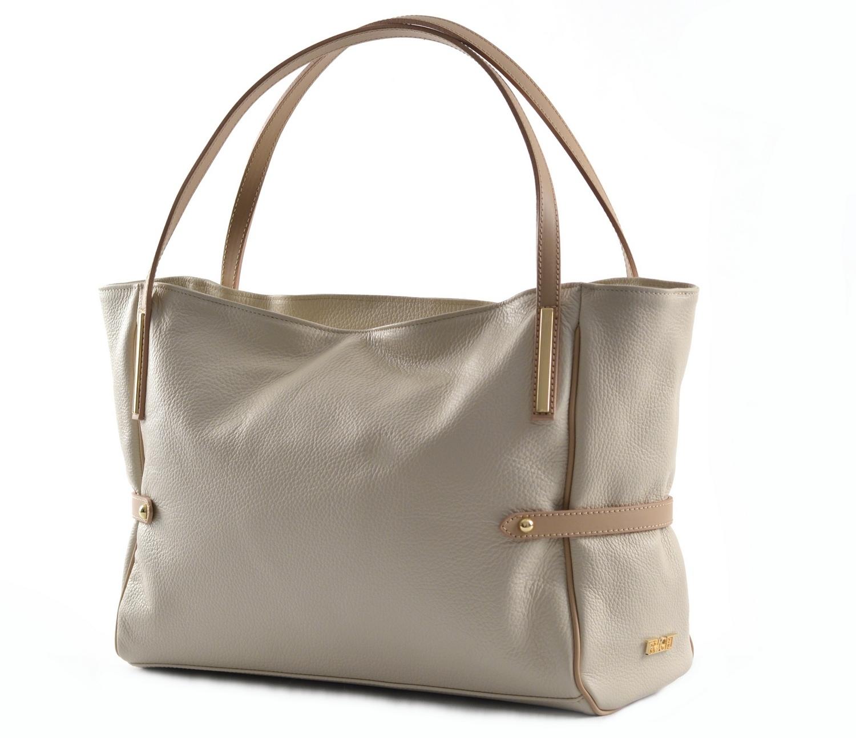 Bright Fashion dámská kabelka měkká kožená velká A4 smetanová