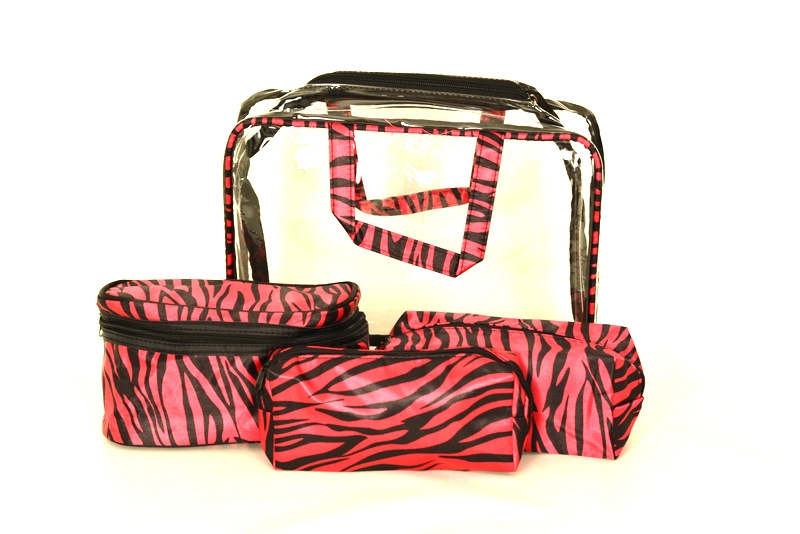 BRIGHT Kosmetická taška - set 4 etuí Růžová zebra, 30 x 10 x 22 (BR14-AK003-40TS)