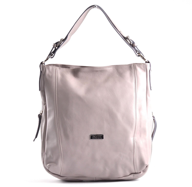 Kožená kabelka vak A4 rozšiřovatelná měkká šedá, 29 x 13 x 33 (BR17-LP9060-08SAV)