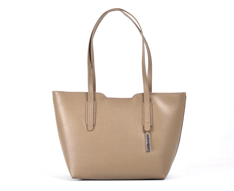 Bright Elegantní kabelka větší A5 kožená přes rameno hnědo-šedá
