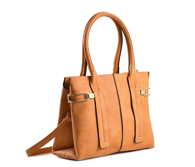 Bright Dámská kabelka do ruky A4 s bočními sponami hnědá-rezavá