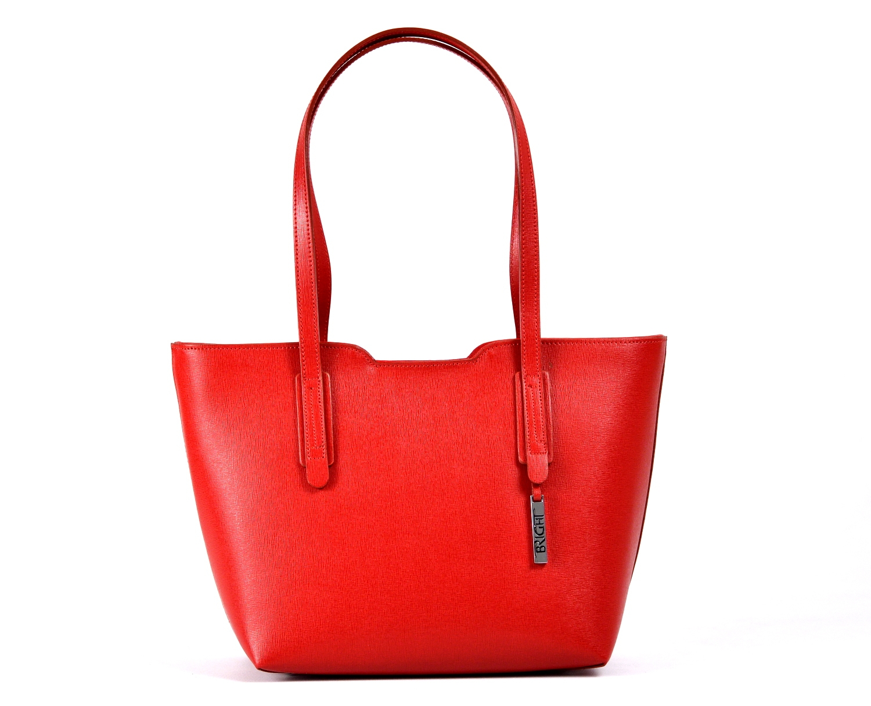 Bright Elegantní kabelka větší A5 kožená přes rameno červená
