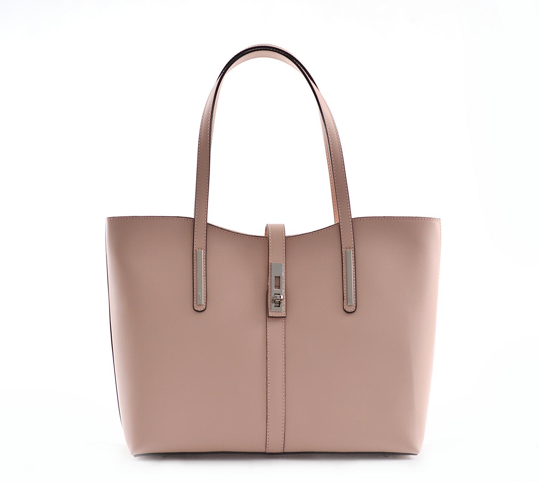 BRIGHT Klasická kabelka kožená přes rameno hladká A4 starorůžová