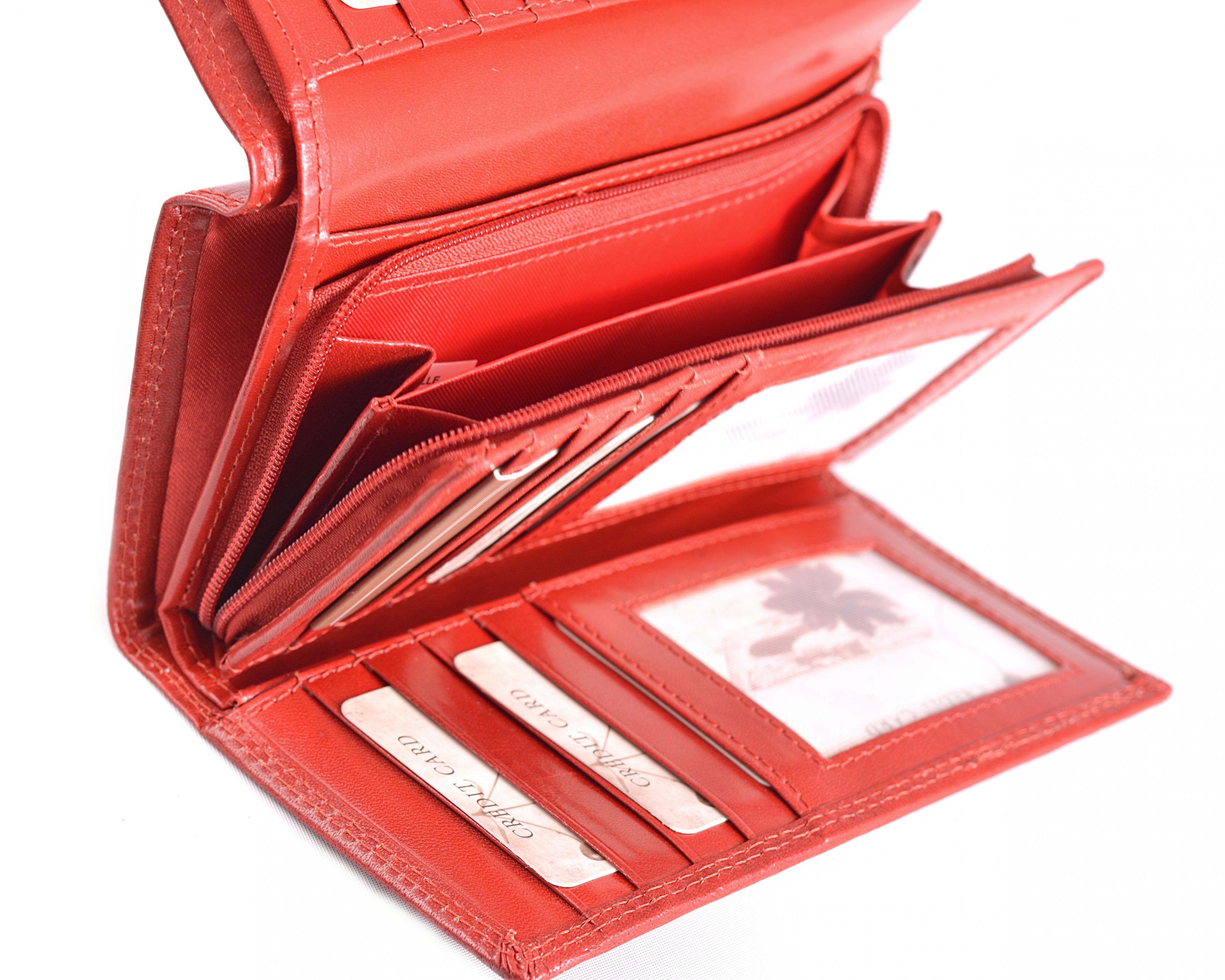 Dámská kožená peněženka na výšku červená, 9 x 28 x 16 (SB00-V947-00KUZ)
