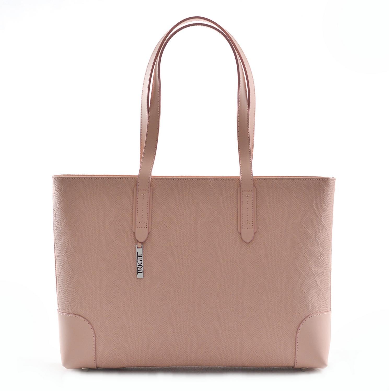 BRIGHT Elegantní kabelka kožená vzorovaná na dokumenty růžová, 40 x 12 x 29 (BR18-ANJ8040-20PIT)