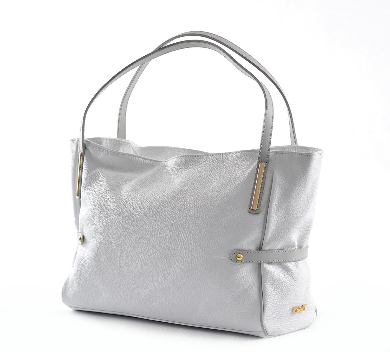 Bright Fashion dámská kabelka měkká kožená velká A4 bílá