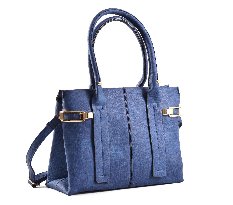 Bright Dámská kabelka do ruky A4 s bočními sponami modrá