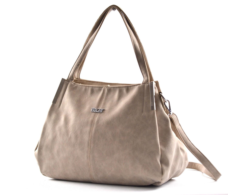 Bright Fashion kabelka-vak syntetická A4 béžová, 36 x 13 x 28 (BR18-WJ344-05SYN)