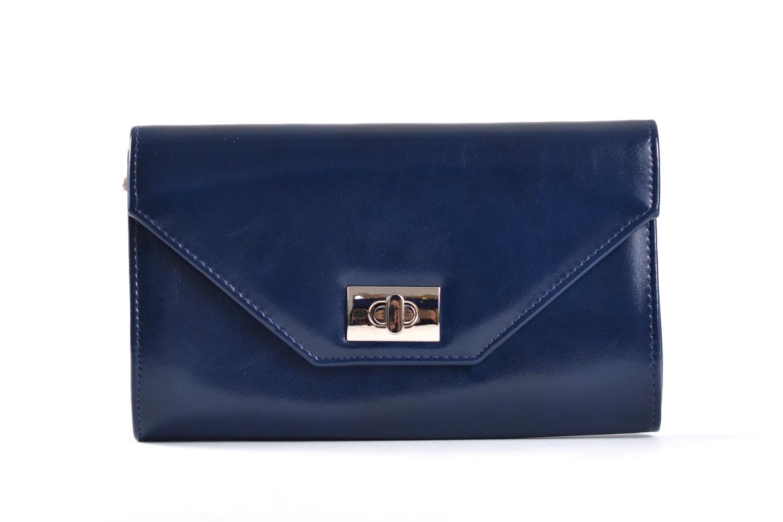 Společenská kabelka - psaníčko s klopnou syntetická modrá