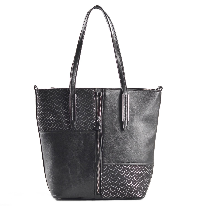 Krásná Bright kabelka na výšku velká A4 s šupinkami černá