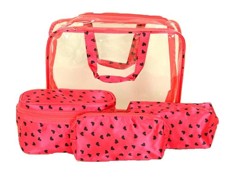 BRIGHT Kosmetická taška - set 4 etuí Růžová, 30 x 10 x 22 (BR14-AK001-40TS)