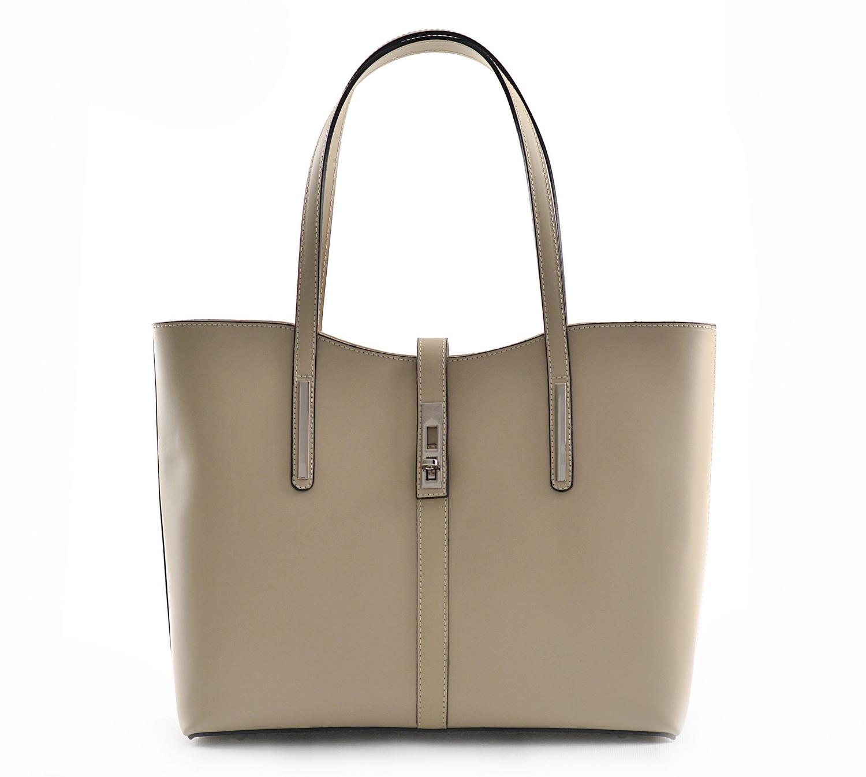 BRIGHT Klasická kabelka kožená přes rameno hladká A4 béžová
