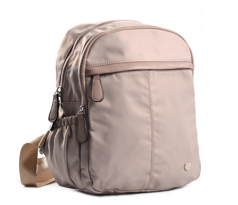 Bright Dámský batoh se 2 zipy a bočními kapsami větší A5 béžový
