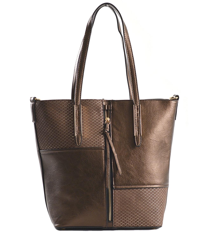 Krásná Bright kabelka na výšku velká A4 s šupinkami bronzovo-hnědá