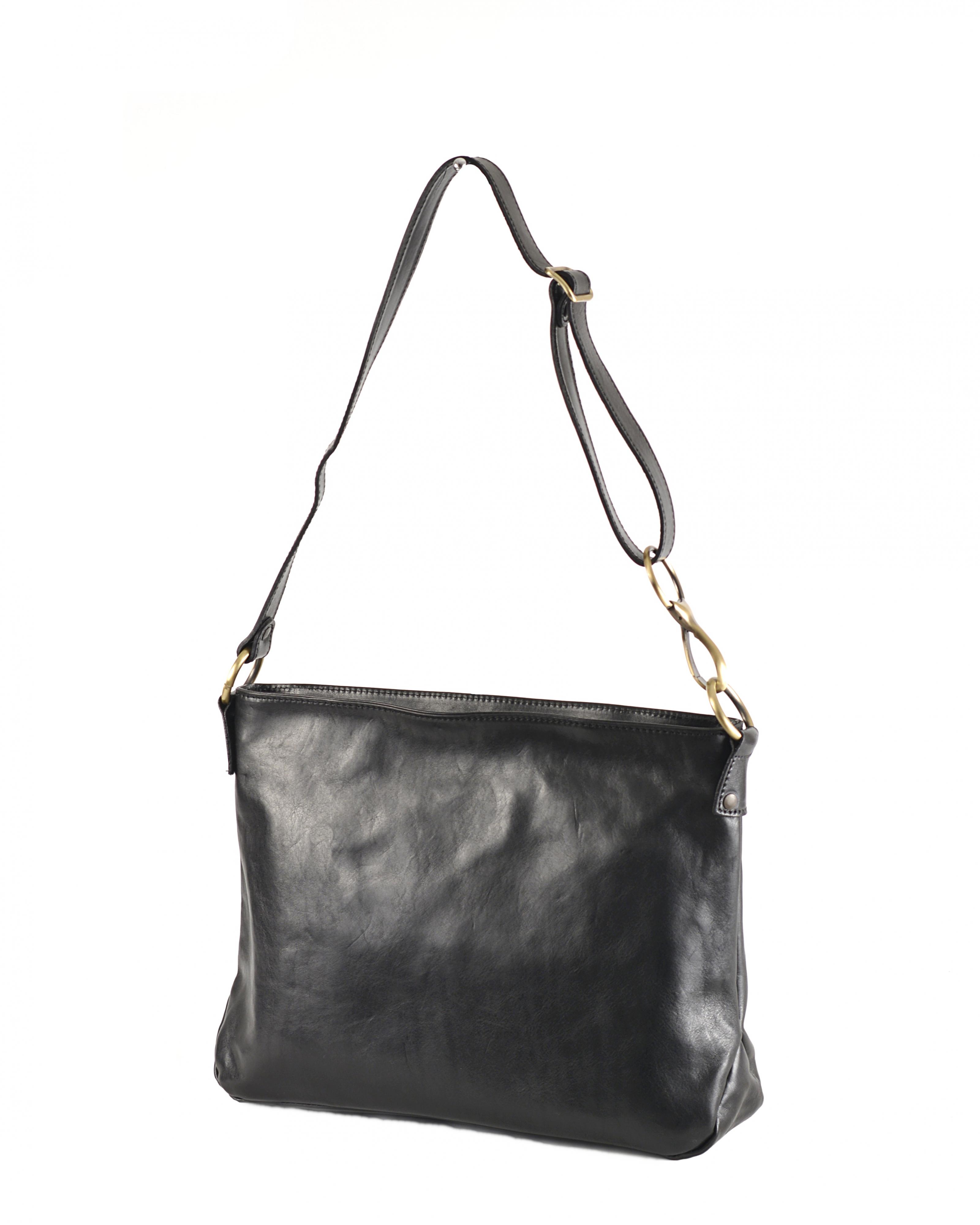 Levně Kožená kabelka přes rameno hladká černá, 40 x 10 x 26 (5540z-09)