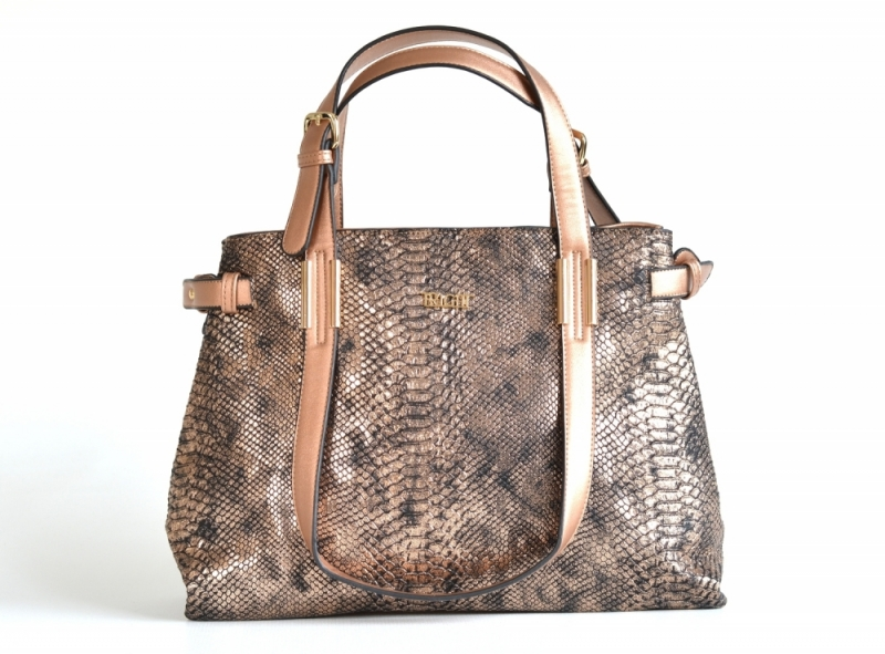 Bright Krásná kabelka přes rameno velká A4 objemná bronzová - Bright ... a47b8427459