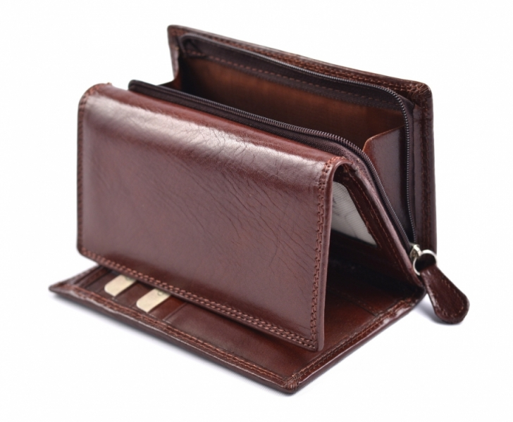 e68e8abf5 Dámská peněženka na šířku střední kožená hnědá - Dámská peněženka na šířku  střední kožená hnědá : DOMIbags.cz