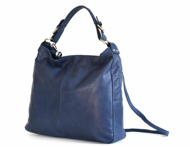 4ad2fed70b6 akcedoprava zdarma Kožená dámská kabelka A4 přes rameno hladká handbag modrá