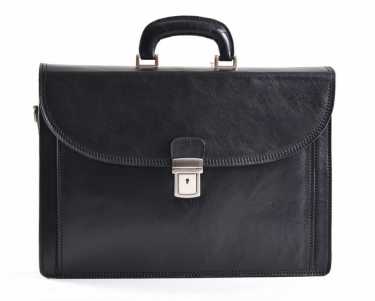 Aktovka pánská kožená L velká formát A4 vybavená černá Briefcase