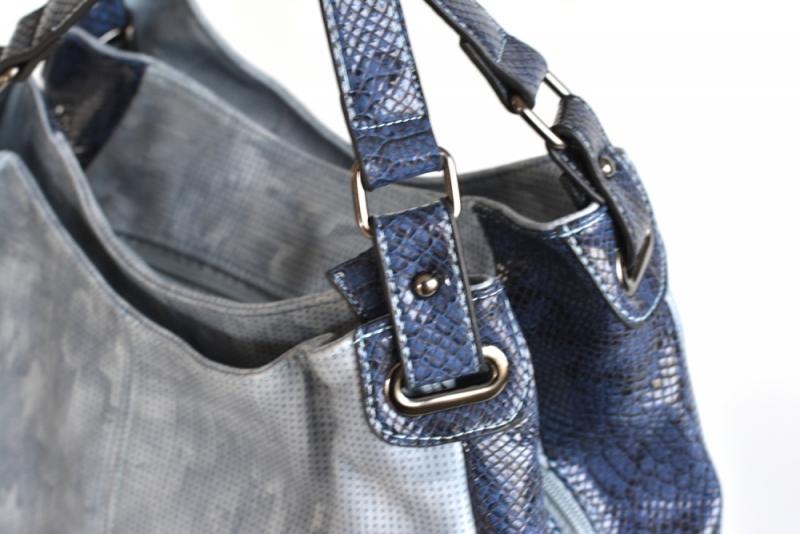 ... Bright Elegantní kabelka přes rameno velká shopper A4 objemná modrá ... d96ebb8fcac
