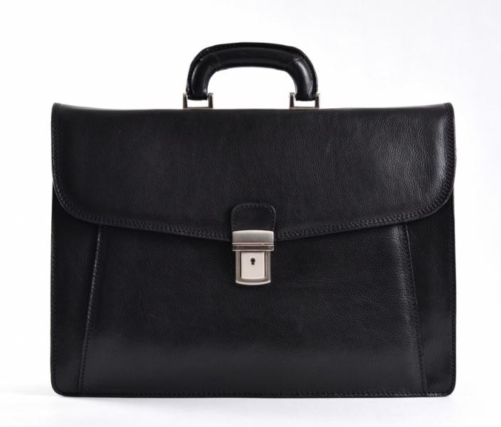 Aktovka pánská L (large) velká vybavená formát A4 kůže Briefcase černá
