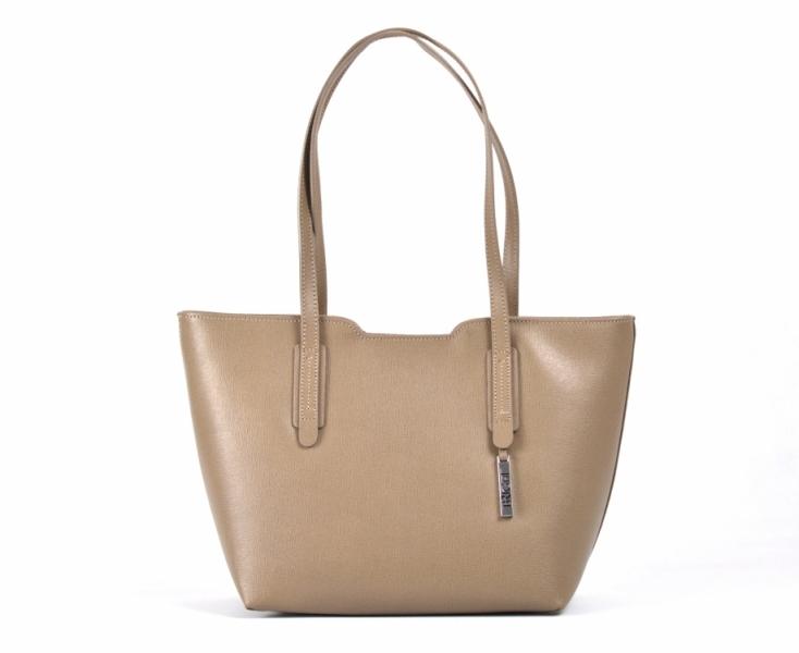 Bright Elegantní kabelka větší A5 kožená přes rameno Handbag hnědo-šedá