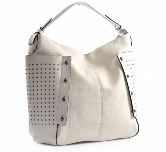 akce Bright Dámská kabelka A4 přes rameno s cvočky Handbag bílo-smetanová 74e827a67a5