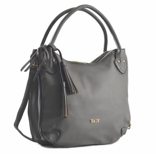 Fashion Bright Kabelka A4 se střapcem a 2 zipové kapsy Handbag tmavě šedá