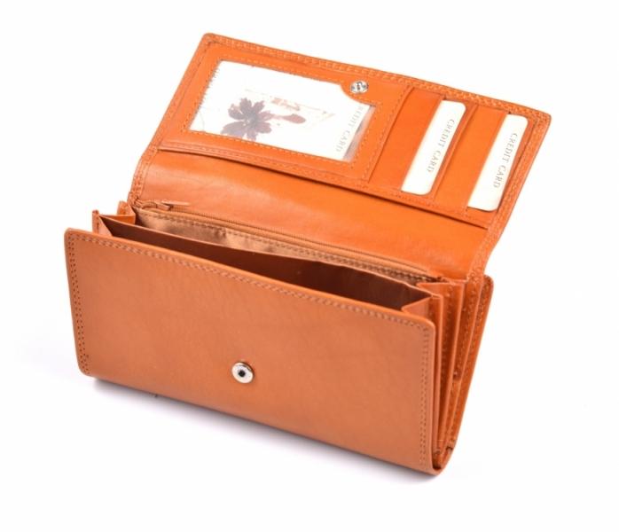 f7524b194 Dámská peněženka kožená na šířku s dokladovou částí vybavená rezavá ...