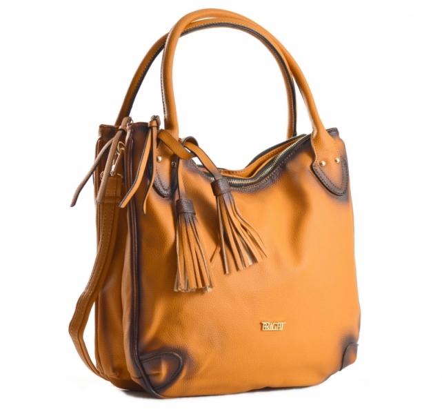 akce Fashion Bright Kabelka A4 se střapcem a 2 zipové kapsy Handbag hnědá  rezavá ab3d9db6ee3