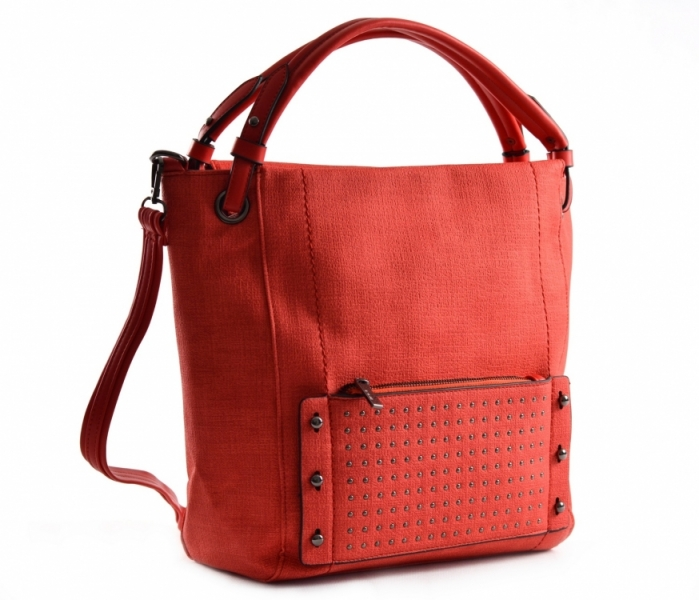 Bright Dámská kabelka A4 přes rameno s cvočky červená - Bright ... 3bfca2fd25d