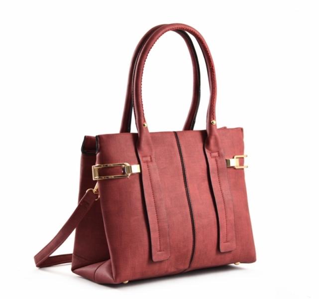 Bright Dámská kabelka do ruky A4 s bočními sponami Handbag tmavě červená