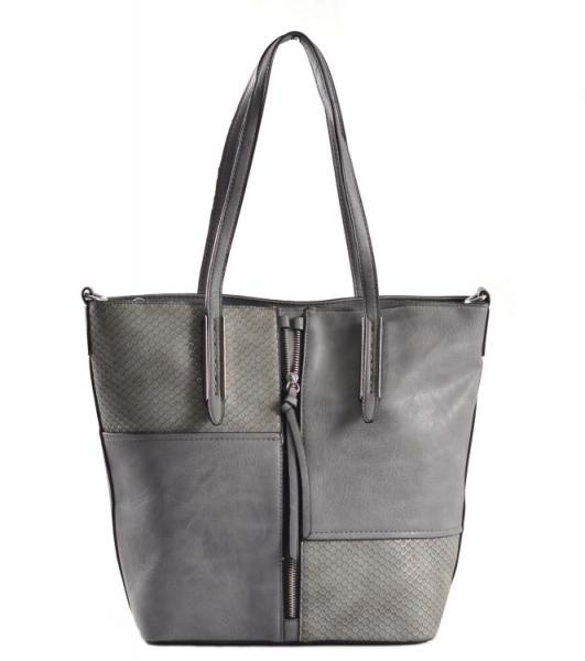 Krásná Bright kabelka na výšku velká A4 s šupinkami Shopping bag šedá