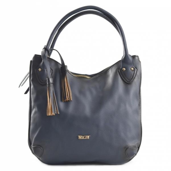Fashion Bright Kabelka A4 se střapcem a 2 zipové kapsy Handbag tmavě modrá  ... 010ceb25a94