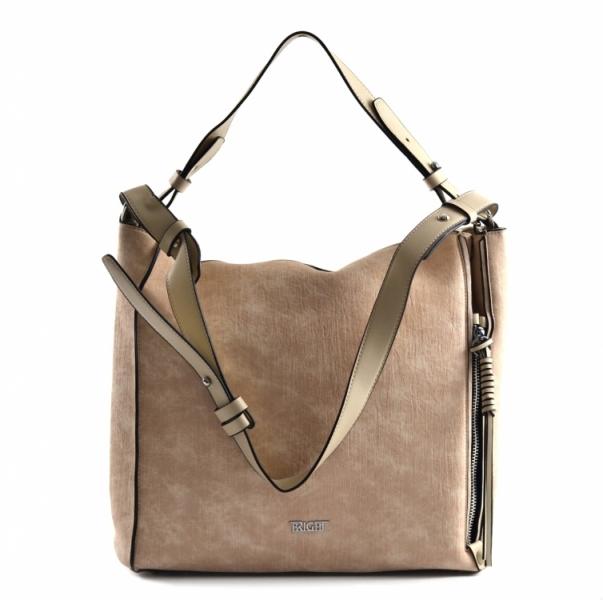 Bright Dámská kabelka A4 přes rameno mramorovaná rozšiřovatelná Expander Handbag béžová