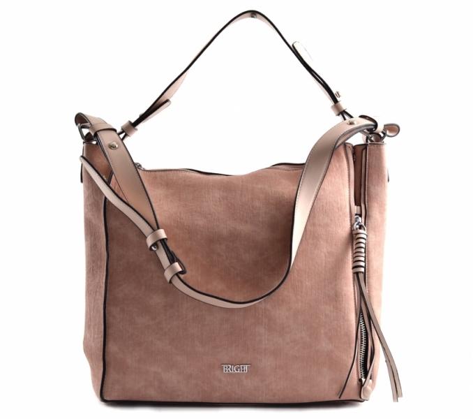 Bright Dámská kabelka A4 přes rameno mramorovaná rozšiřovatelná Expander Handbag starorůžová