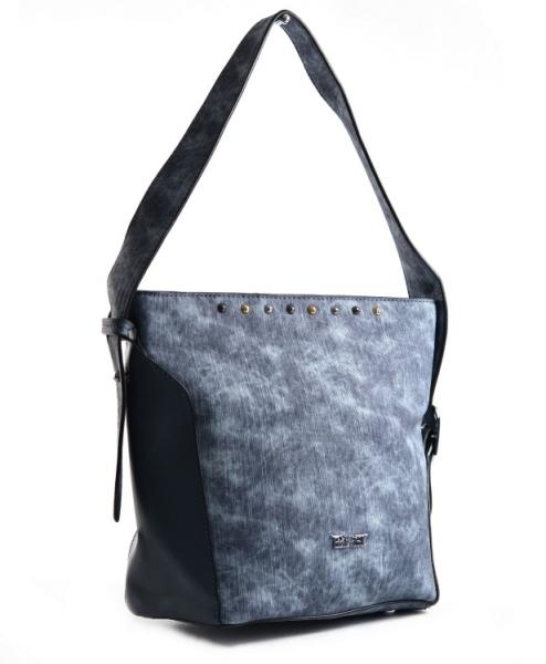 Bright Dámská kabelka větší A5 přes rameno mramorovaná Handbag modrá