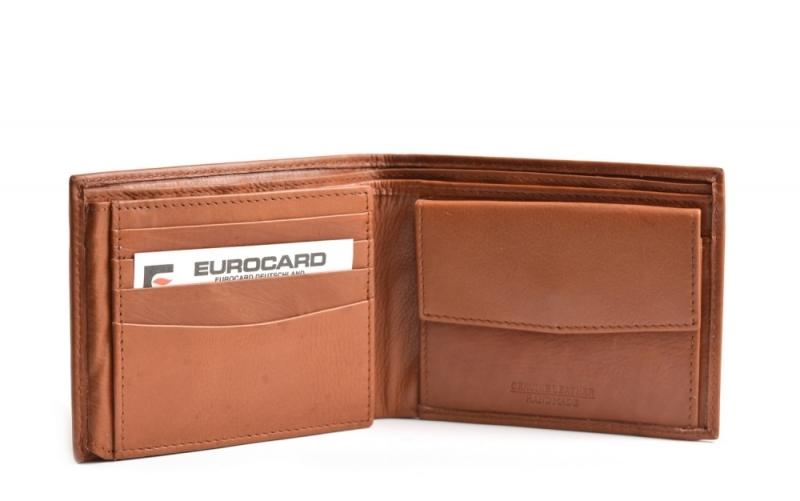 f618bc71d98 Bright Pánská peněženka kožená klasická na šířku hnědá - Bright ...