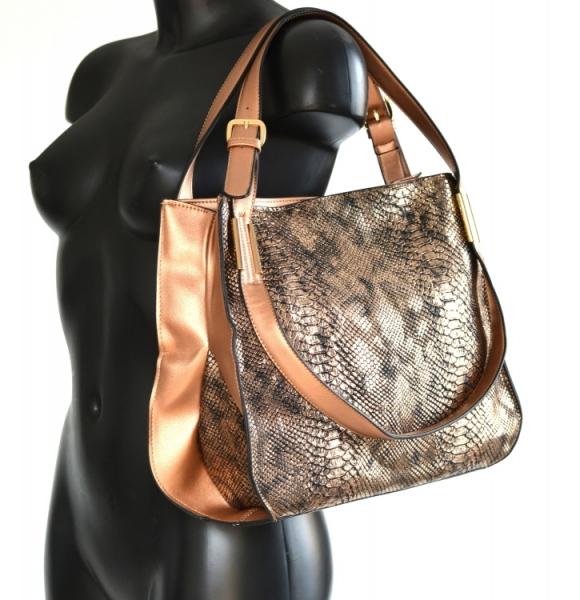 ... Bright Krásná kabelka přes rameno handbag s ozdobným uchem velká  bronzová ... 098cc0bb551
