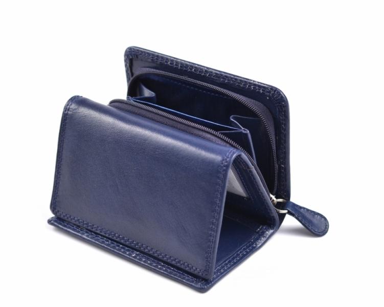 c7371df5c93 Dámská kožená peněženka na výšku menší se zipem na mince modrá ...